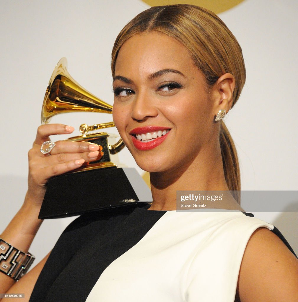Beyonce poses at the The 55th Annual GRAMMY Awards on February 10, 2013 in Los Angeles, California.