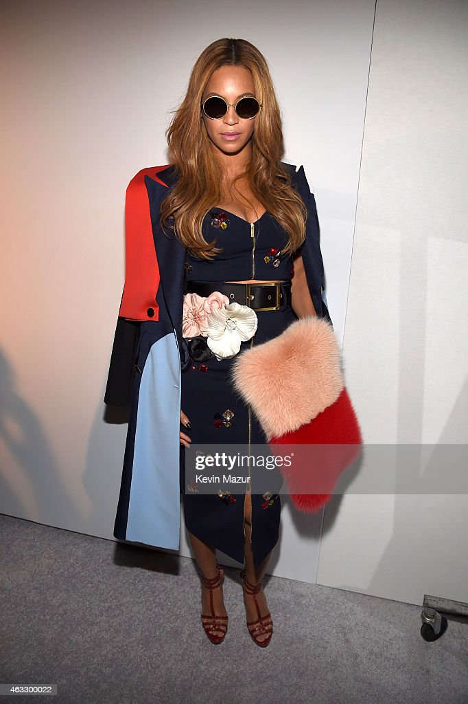 Beyonce poses backstage at the adidas Originals x Kanye West YEEZY SEASON 1 fashion show during New York Fashion Week Fall 2015 at Skylight Clarkson Sq on February 12, 2015 in New York City.