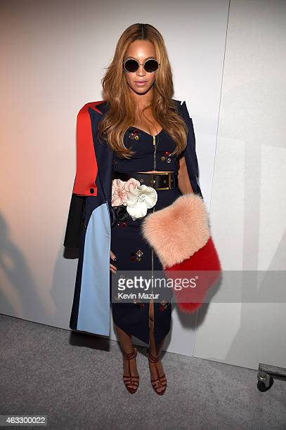 Beyonce poses backstage at the adidas Originals x Kanye West YEEZY SEASON 1 fashion show during New York Fashion Week Fall 2015 at Skylight Clarkson...