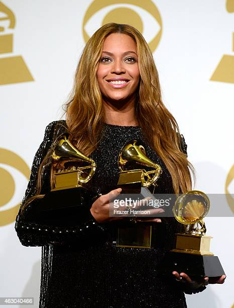 Beyonce poses in in the press room during The 57th Annual GRAMMY Awards at the STAPLES Center on February 8 2015 in Los Angeles California