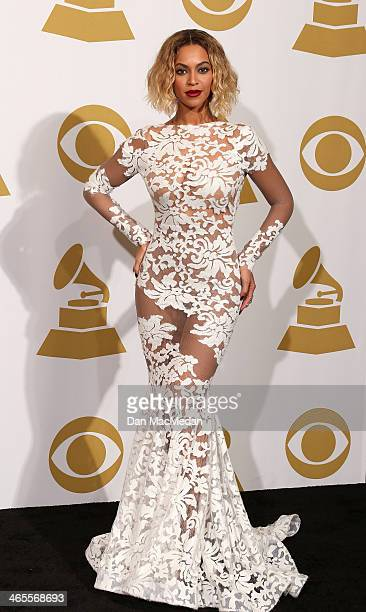 Beyonce poses in the press room at the 56th Annual GRAMMY Awards at Staples Center on January 26 2014 in Los Angeles California
