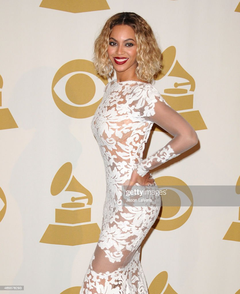 Beyonce poses in the press room at the 56th GRAMMY Awards at Staples Center on January 26, 2014 in Los Angeles, California.