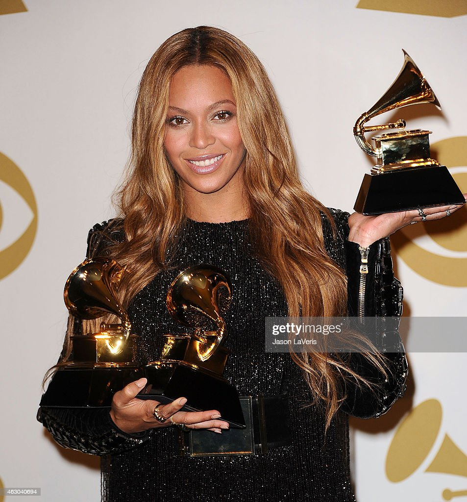 Beyonce poses in the press room at the 57th GRAMMY Awards at Staples Center on February 8, 2015 in Los Angeles, California.