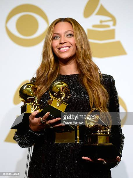 Beyonce poses in the press room during The 57th Annual GRAMMY Awards at the STAPLES Center on February 8 2015 in Los Angeles California
