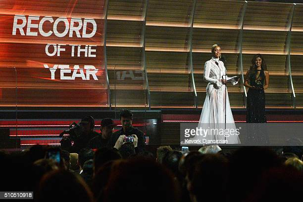 Beyonce presents award onstage during The 58th GRAMMY Awards at Staples Center on February 15 2016 in Los Angeles California
