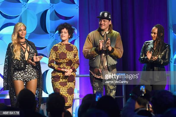 Beyonce Regine Chassagne Win Butler and Alicia Keys onstage at the Tidal launch event #TIDALforALL at Skylight at Moynihan Station on March 30 2015...