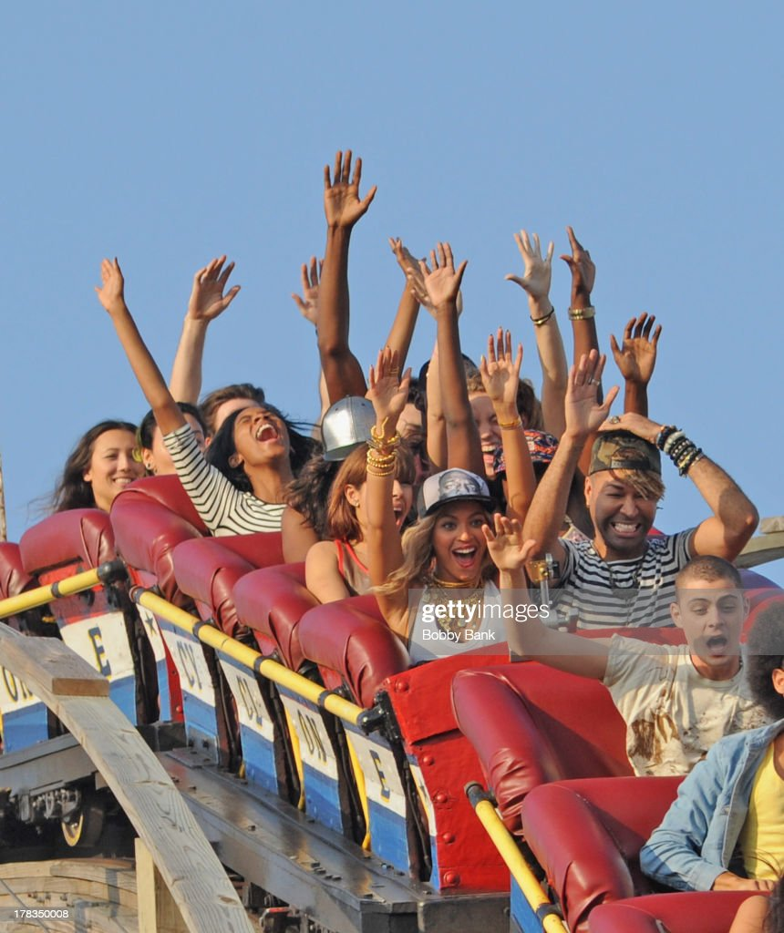 Beyonce rides the Cyclone at Coney Island while filming a muisc video on August 29, 2013 in New York City.
