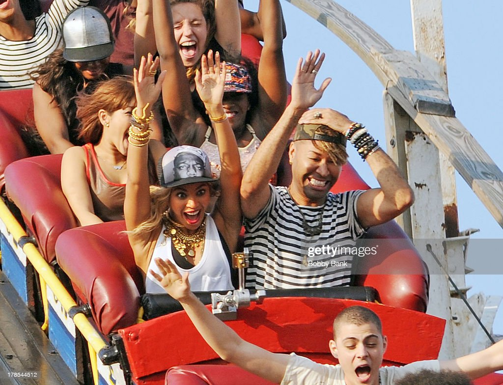 Beyonce rides the Cyclone at Coney Island while filming a music video on August 29, 2013 in New York City.