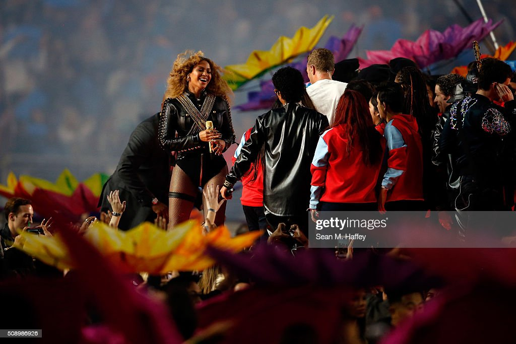 Beyonce smiles following her performance during the Pepsi Super Bowl 50 Halftime Show at Levi's Stadium on February 7, 2016 in Santa Clara, California.