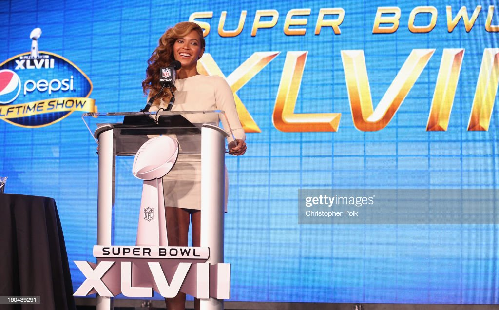 Beyonce speaks onstage at the Pepsi Super Bowl XLVII Halftime Show Press Conference at the Ernest N. Morial Convention Center on January 31, 2013 in New Orleans, Louisiana.