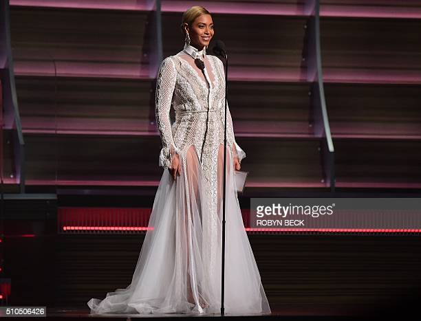 Beyonce speaks onstage during the 58th Annual Grammy music Awards in Los Angeles February 15 2016 AFP PHOTO/ ROBYN BECK / AFP / ROBYN BECK