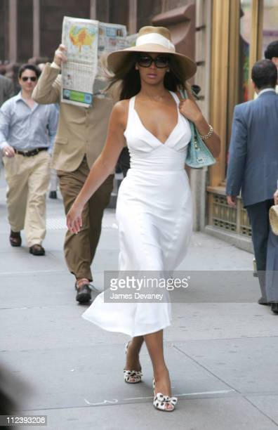 Beyonce Steve Martin and Jean Reno during Beyonce on the Set of 'Pink Panther' May 13 2004 at Streets of New York in New York City New York United...