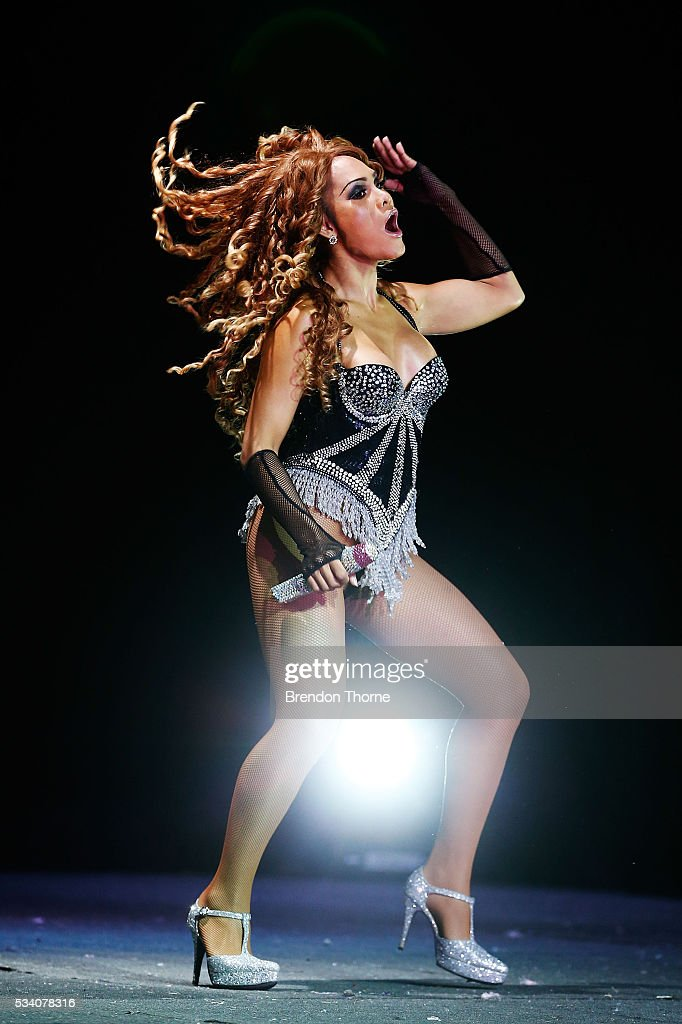 A 'Beyonce' tribute performs on stage during a media call for the Thai Ladyboy Superstar Cabaret in the Big Top at The Entertainment Quarter on May 25, 2016 in Sydney, Australia.