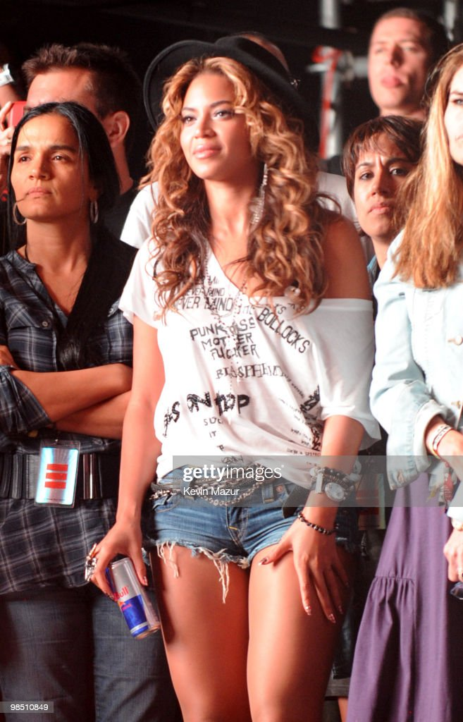 Beyonce watches Jay-Z perform during Day 1 of the Coachella Valley Music & Arts Festival 2010 held at the Empire Polo Club on April 16, 2010 in Indio, California.