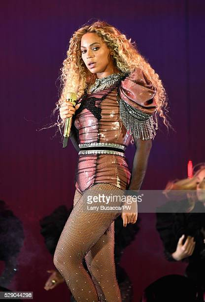 Beyonce wearing a custom Gucci Panther bodysuit performs onstage during 'The Formation World Tour' at NRG Stadium on May 7 2016 in Houston Texas