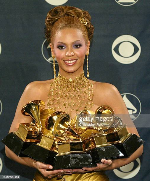 Beyonce winner of 5 Grammys during The 46th Annual Grammy Awards Press Room at Staples Center in Los Angeles California United States
