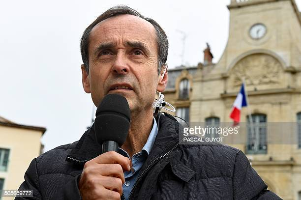 Beziers' mayor Robert Menard makes a statement on January 19 2016 in front of Beziers' cith hall A judge of the Montpellier's Administrative Court...