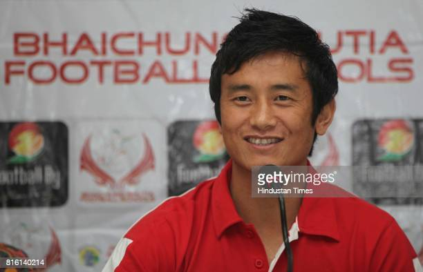 Bhaichung Bhutia during the launch of Bhaichung Bhutia football school at Press club in Mumbai on Monday
