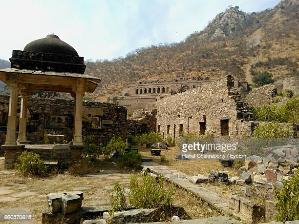 Bhangarh Fort Against Mountains