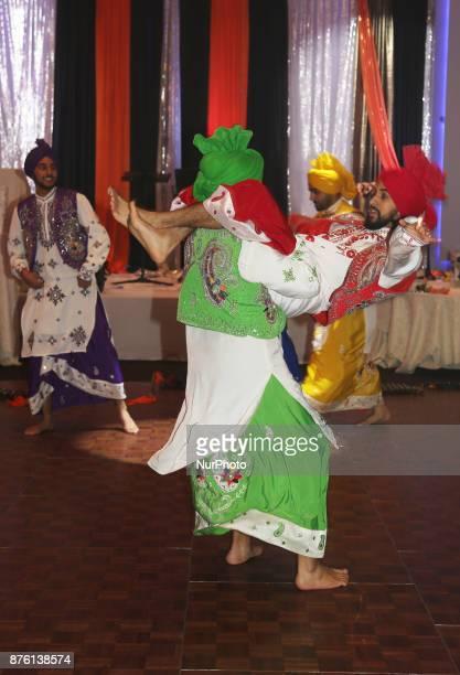Bhangra dancers perform during the Langar Seva fundraising gala in Mississauga Ontario Canada on 17 November 2017 Langar Seva is a community...