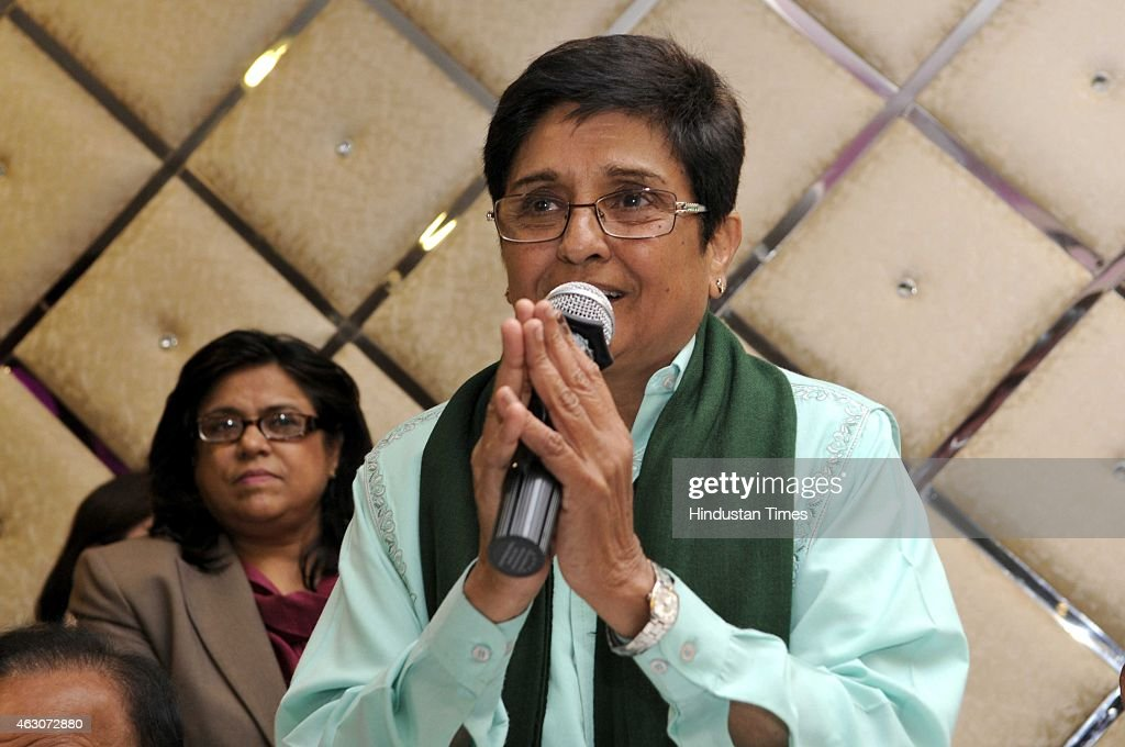 Bharatiya Janata Party (BJP) chief ministerial candidate <a gi-track='captionPersonalityLinkClicked' href=/galleries/search?phrase=Kiran+Bedi&family=editorial&specificpeople=2886102 ng-click='$event.stopPropagation()'>Kiran Bedi</a> addresses her party members at 'Aabhar Sabha' at Krishnanagar area, on February 9, 2015 in New Delhi, India. <a gi-track='captionPersonalityLinkClicked' href=/galleries/search?phrase=Kiran+Bedi&family=editorial&specificpeople=2886102 ng-click='$event.stopPropagation()'>Kiran Bedi</a> thanks hundreds of party members who worked for her Chief Ministerial campaign.