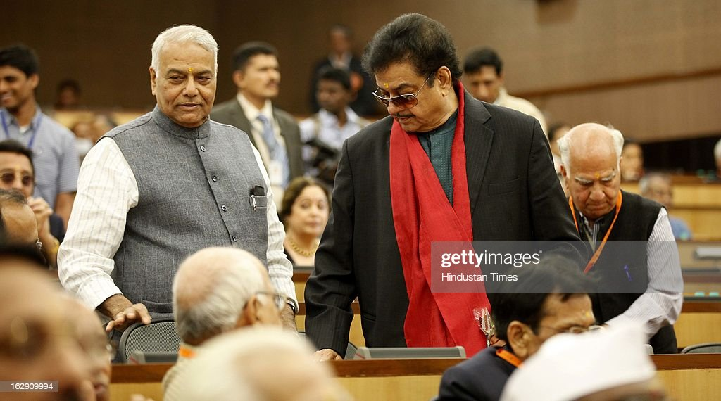 Bharatiya Janata Party leader Shatrughan Sinha along with Yaswant Sinha during the Bharatiya Janata Party National convention at NDMC Convention Hall Near Jantar Mantar on March 1, 2013 in New Delhi, India. BJP leaders will discuss party's preparations with eye on the general elections and many assembly elections next one year.