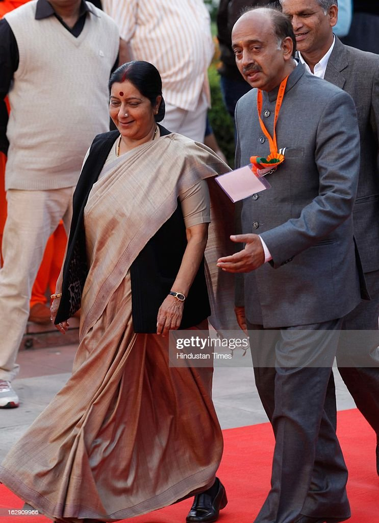 Bharatiya Janata Party leader Sushma Swaraj, along with Delhi BJP President Vijay Goel going for Bharatiya Janata Party National convention at NDMC Convention Hall Near Jantar Mantar on March 1, 2013 in New Delhi, India. BJP leaders will discuss party's preparations with eye on the general elections and many assembly elections next one year.