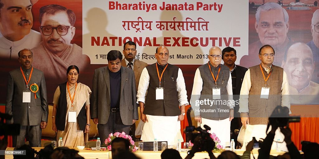 Bharatiya Janata Party leader (Left To Right) Sushma Swaraj, Nitin Gadkari, Rajnath Singh, L.K Adavni, Arun Jaitley during the Bharatiya Janata Party National convention at NDMC Convention Hall Near Jantar Mantar on March 1, 2013 in New Delhi, India. BJP leaders will discuss party's preparations with eye on the general elections and many assembly elections next one year.