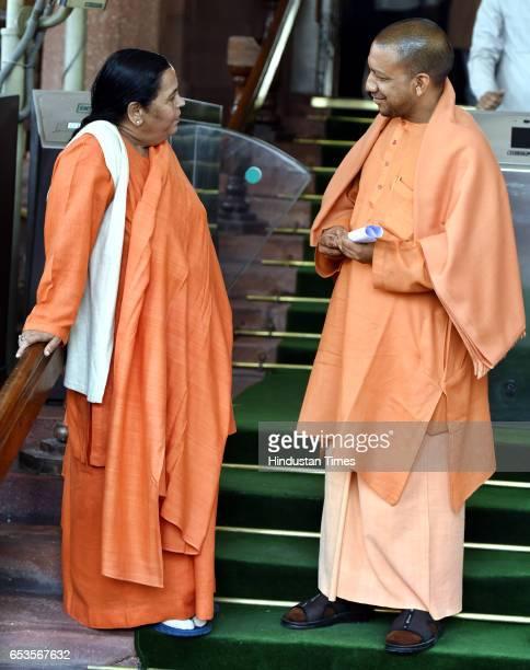 Bharatiya Janata Party Member of Parliament from Gorakhpur in the Lok Sabha Mahanth Yogi Adityanath talking with minister for water resources river...