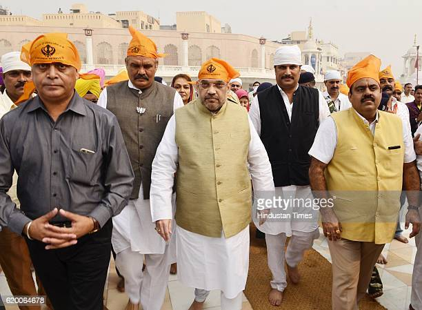 Bharatiya Janata Party National President Amit Shah along with BJP state Chief Vijay Sampla BJP National Secretary Tarun Chugh arrives at Golden...