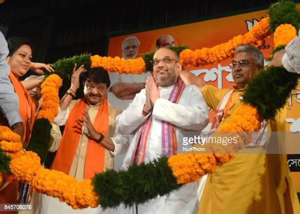 Bharatiya Janata Party National President Amit Shah being garlanded during the party meeting in Kolkata India on Monday 11th September 2017