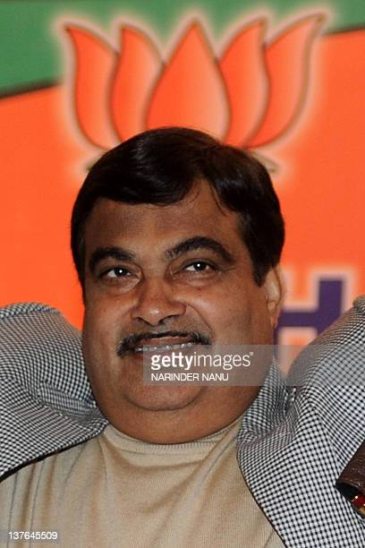 Bharatiya Janata Party President Nitin Gadkari greets his supporters during an election campaign rally in Amritsar on January 24 2012 The state...