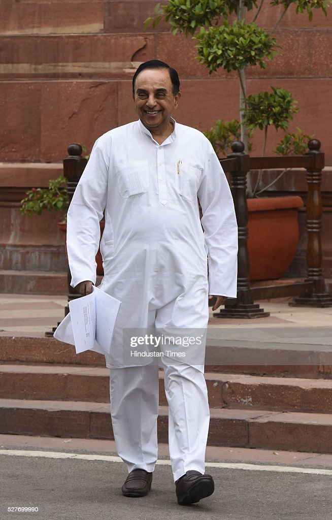 Bharatiya Janata Party (BJP) senior Leader and member of parliament Subramanium Swamy after attending Rajya Sabha Parliament Session on May 3, 2016 in New Delhi, India. With the BJP mounting an offensive against Congress vice-president on the AgustaWestland VVIP chopper bribery case, Rahul Gandhi on Wednesday said he is happy to be targeted.