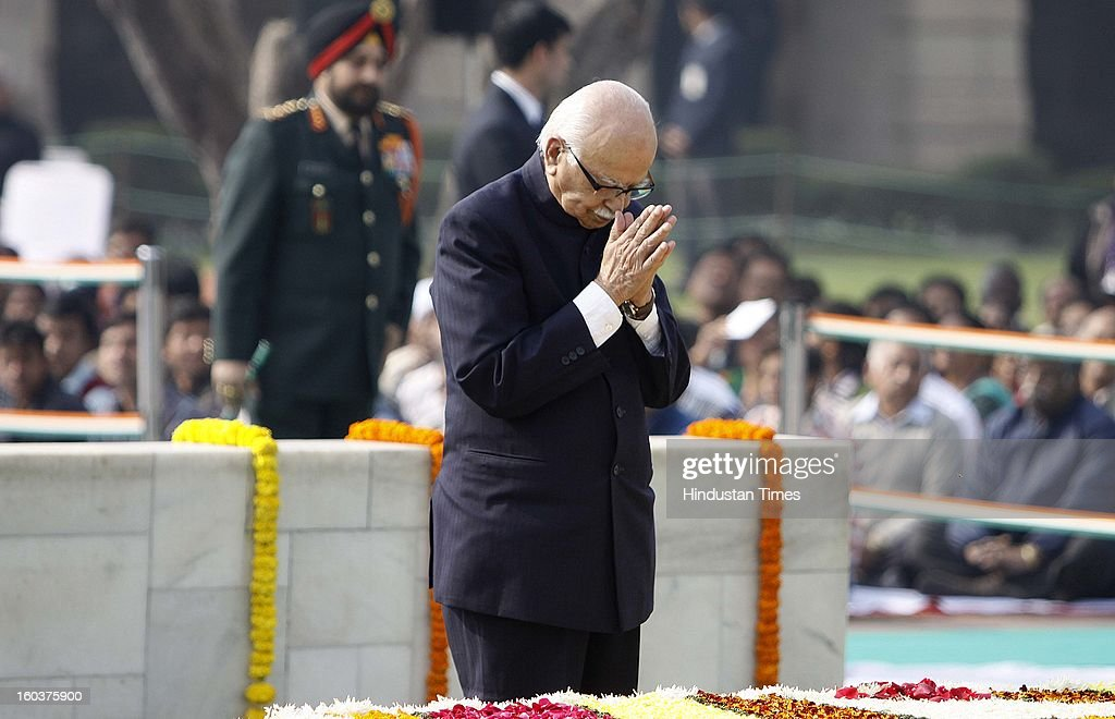 Bharatiya Janata Party (BJP) Senior leader Lal Krishna Advani i paying tributes to father of the nation, Mahatma Gandhi on his death anniversary, observed as Martyrs' Day, at Rajghat on January 30, 2013 in New Delhi, India.