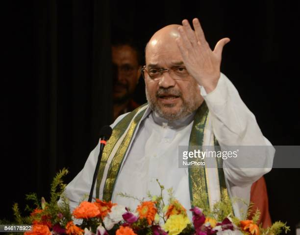 Bharatiya Janta Party National President Amit Shah deliver his speech during the party meeting in Kolkata India on 12th September 2017