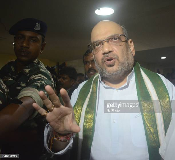 Bharatiya Janta Party National President Amit Shah interacts with the party members who are beaten up in political violence in Kolkata India on 12th...