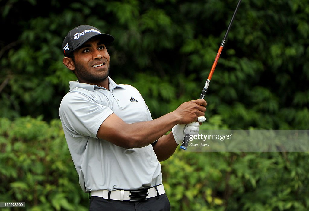 Bhavik Patel watches his tee shot on the third hole during the third round of the Colombia Championship at Country Club de Bogota on March 2, 2013 in Bogota, Colombia.