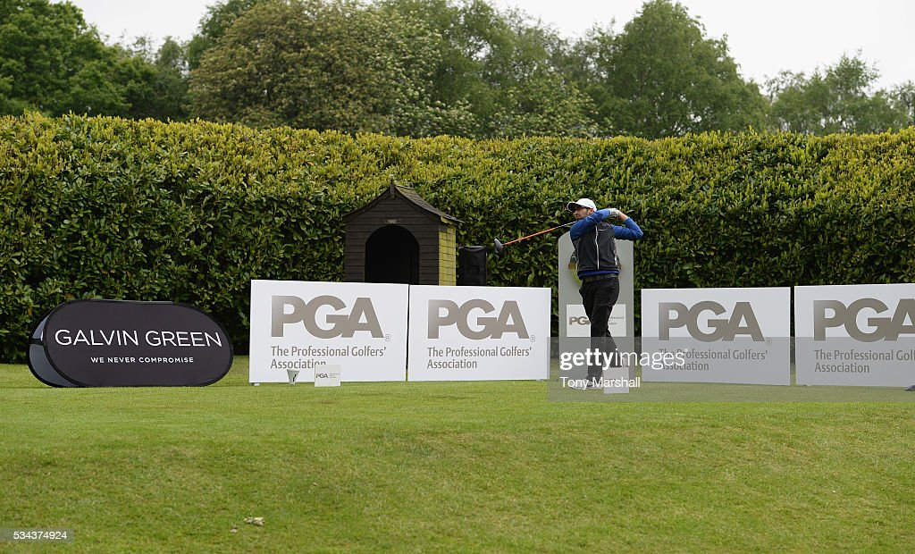 Bhavin Gandhi of Robin Hood Golf Club plays his first shot on the 1st tee during the PGA Assistants Championships - Midlands Qualifier at the Coventry Golf Club on May 26, 2016 in Coventry, England.
