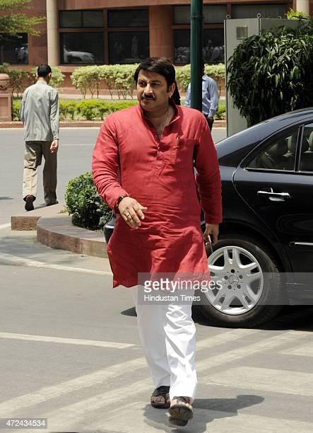 Bhojpuri singeractor and BJP MP Manoj Tiwari at Parliament House during the extended Budget Session on May 7 2015 in New Delhi India The Lok Sabha...