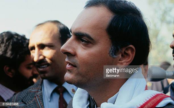 Rajiv Gandhi sits on a platform during a rally held in this city of Bhopal India The city was recently the stage for the worst industrial accident in...