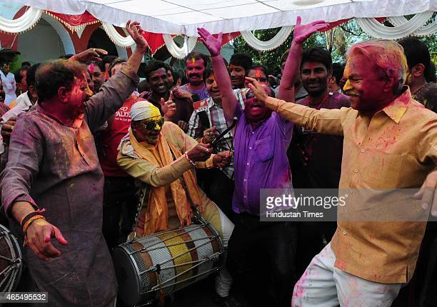 Bhopal Mayor Alok Sharma along with MLAs Vishwas Sarang and Surendranath Singh dancing during Holi celebration organised at CM house on March 6 2015...