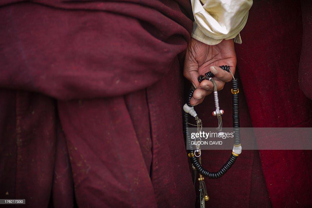 bhuddhist rosary in Tibet, Sichuan, China : Stock Photo