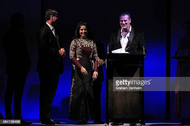 Bhumi Pednekar accepts the award for best actress at the Indian Film Festival of Melbourne Awards Night at the National Gallery of Victoria on August...