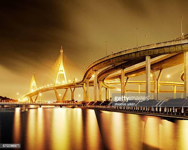 Bhumibol Bridge illuminated at night