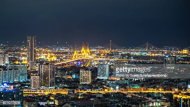 Bhumibol Bridge in Bangkok night view , thailand