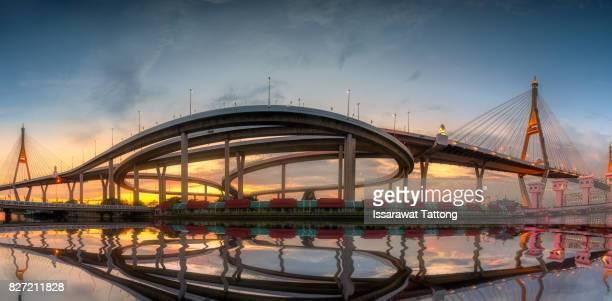 Bhumibol Bridge Panorama with sunset