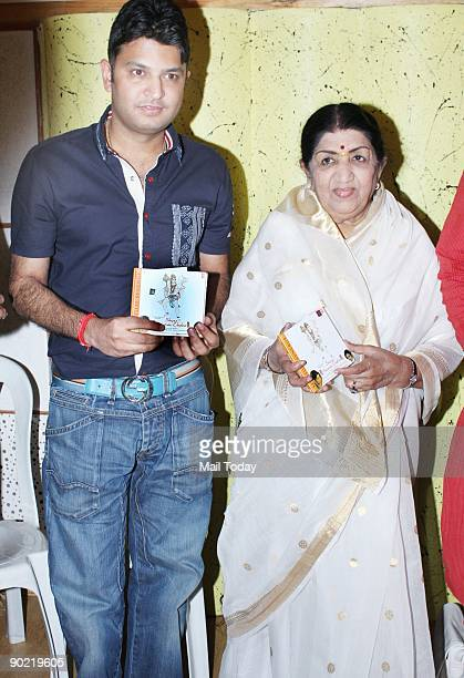 Bhushan Kumar and Lata Mangeshkar attend the launch of TSeries' new album Hanuman Chalisa by Lata Mangeshkar on August 27 2009 in Mumbai India