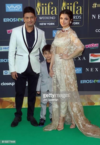 Bhushan Kumar Ruhaan Kumar and actress Divya Khosla Kumar attend the 2017 International Indian Film Academy Festival at MetLife Stadium on July 14...