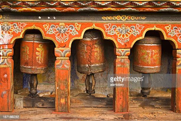 Bhutan - Old Prayer Wheels at Monastery