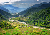 Valley in Bhutan near Punakha with rice fields and typical houses. Travel to Bhutan and enjoy the beautiful landscape of farms and mountains in this buddhist country.